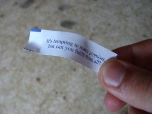 Broken promise fortune cookie