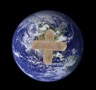 earth with band-aid